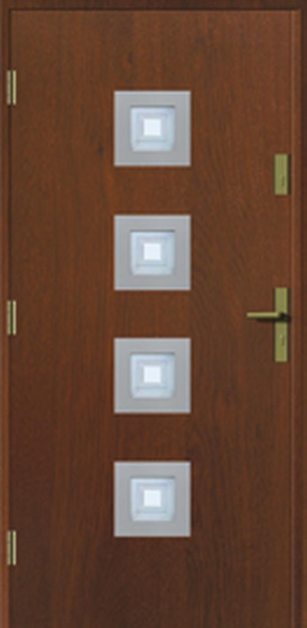 Vchodové dveře do domu MIKEA Prima Thermo Kwadro Inox s vitráží