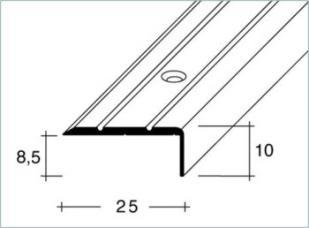 Schodová hrana šroubovací 25x10mm Dural elox délka 2,5m