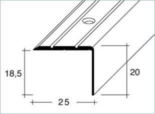 Schodová hrana šroubovací 25x20mm Dural elox délka 2,5m