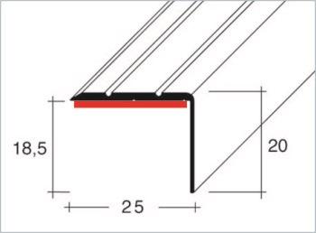 Schodová hrana samolepící 25x20mm Dural elox délka 1m