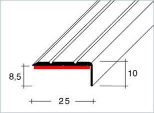 Schodová hrana samolepící 25x10mm Dural elox délka 2,5m