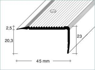 Schodová hrana šroubovací 45x23mm Dural elox délka 1m