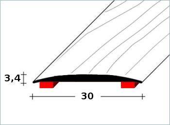 """Přechodový profil """"MIDI"""" 30x3,4mm DURAL samolepící délka 2,5m"""
