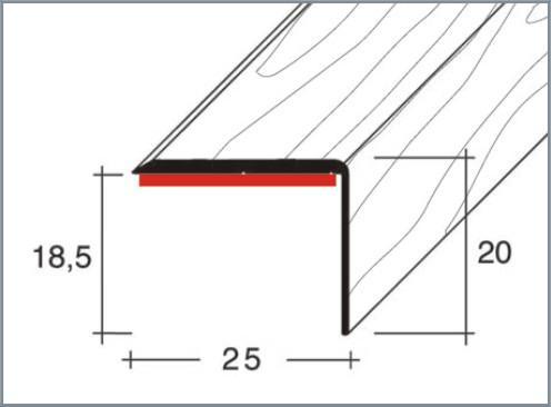 Schodová hrana samolepicí 25x20mm Dural délka 2,5m