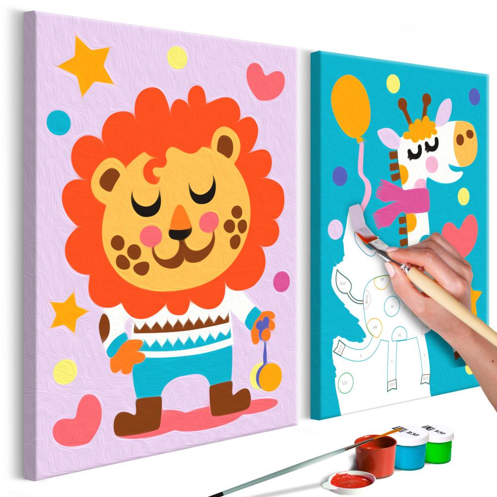 Malování podle čísel - Lion & Giraffe 33x23