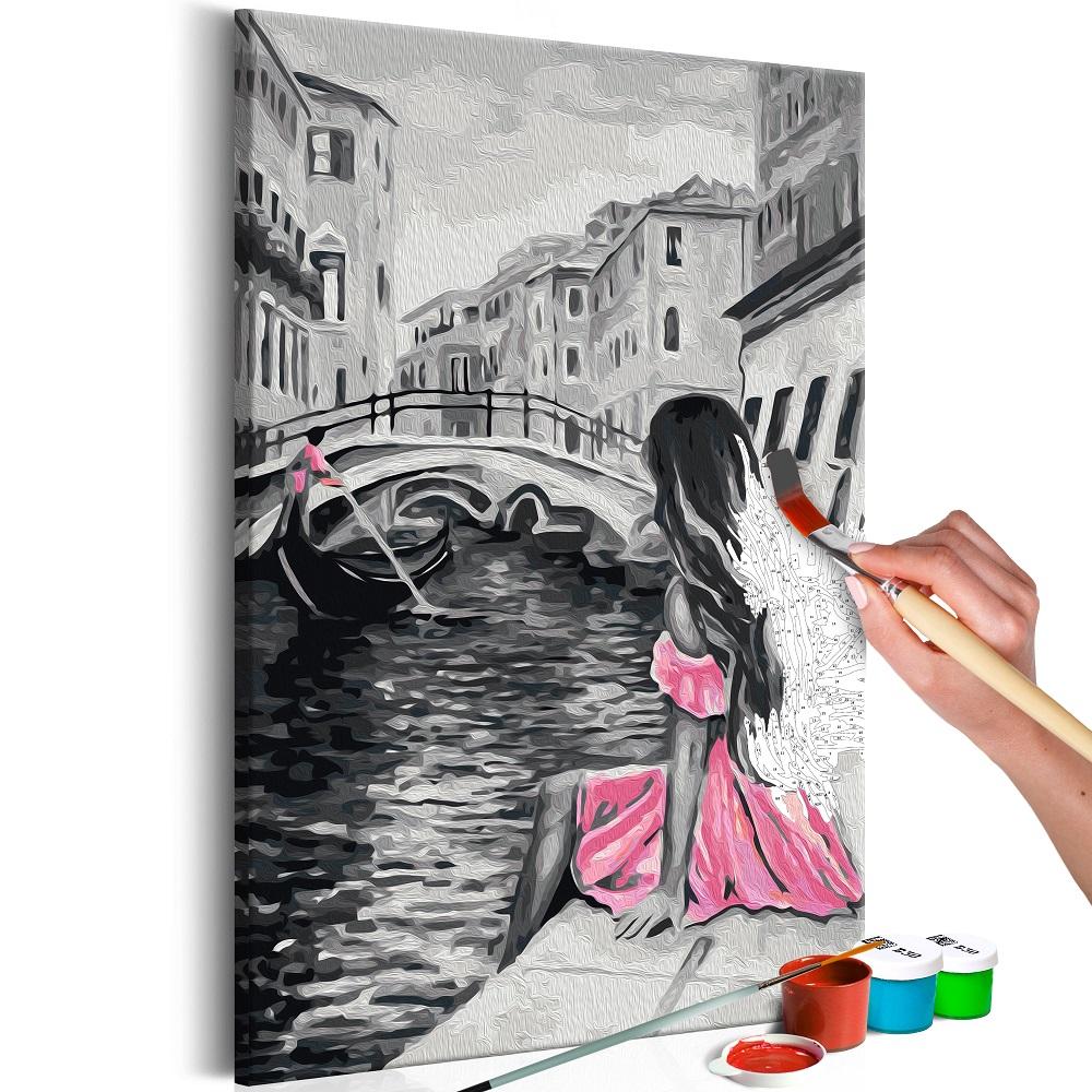 Malování podle čísel - Venice (A Girl In A Pink Dress) 40x60