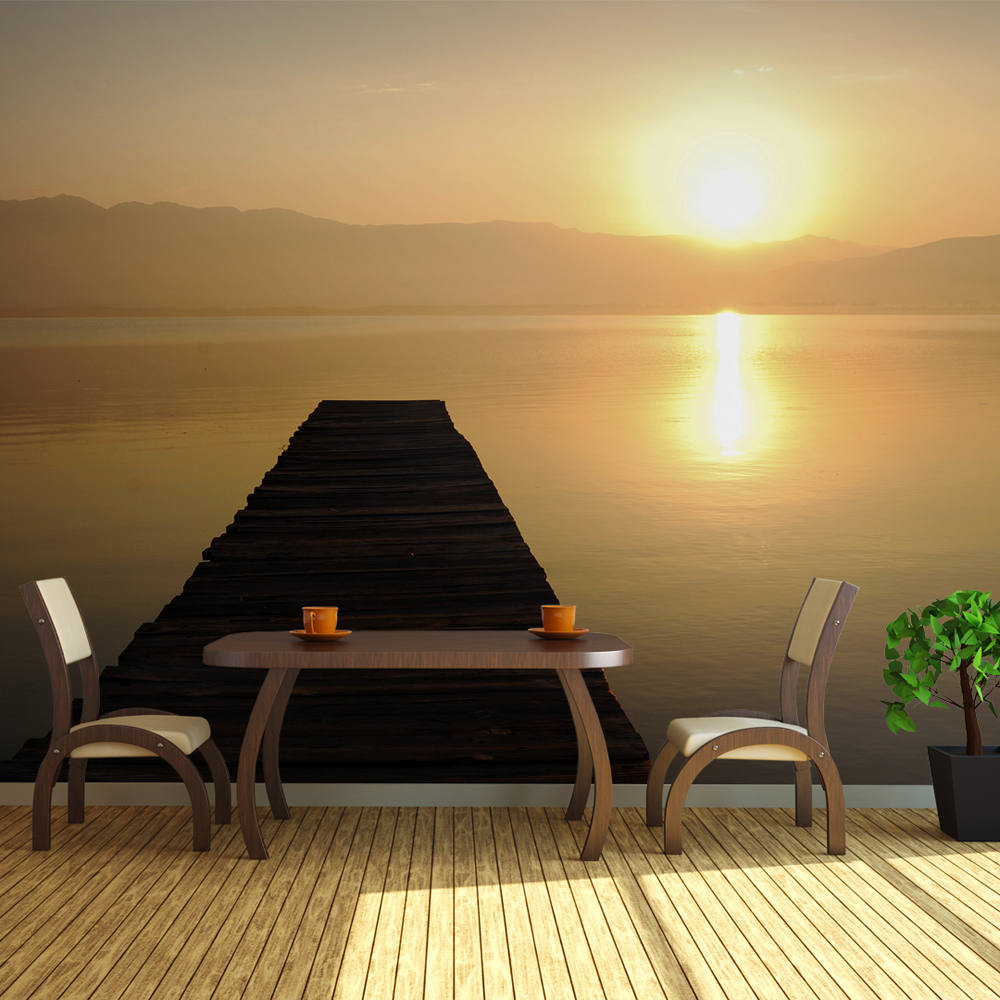 Fototapeta XXL - molo, jezero, západ slunce... 550x270