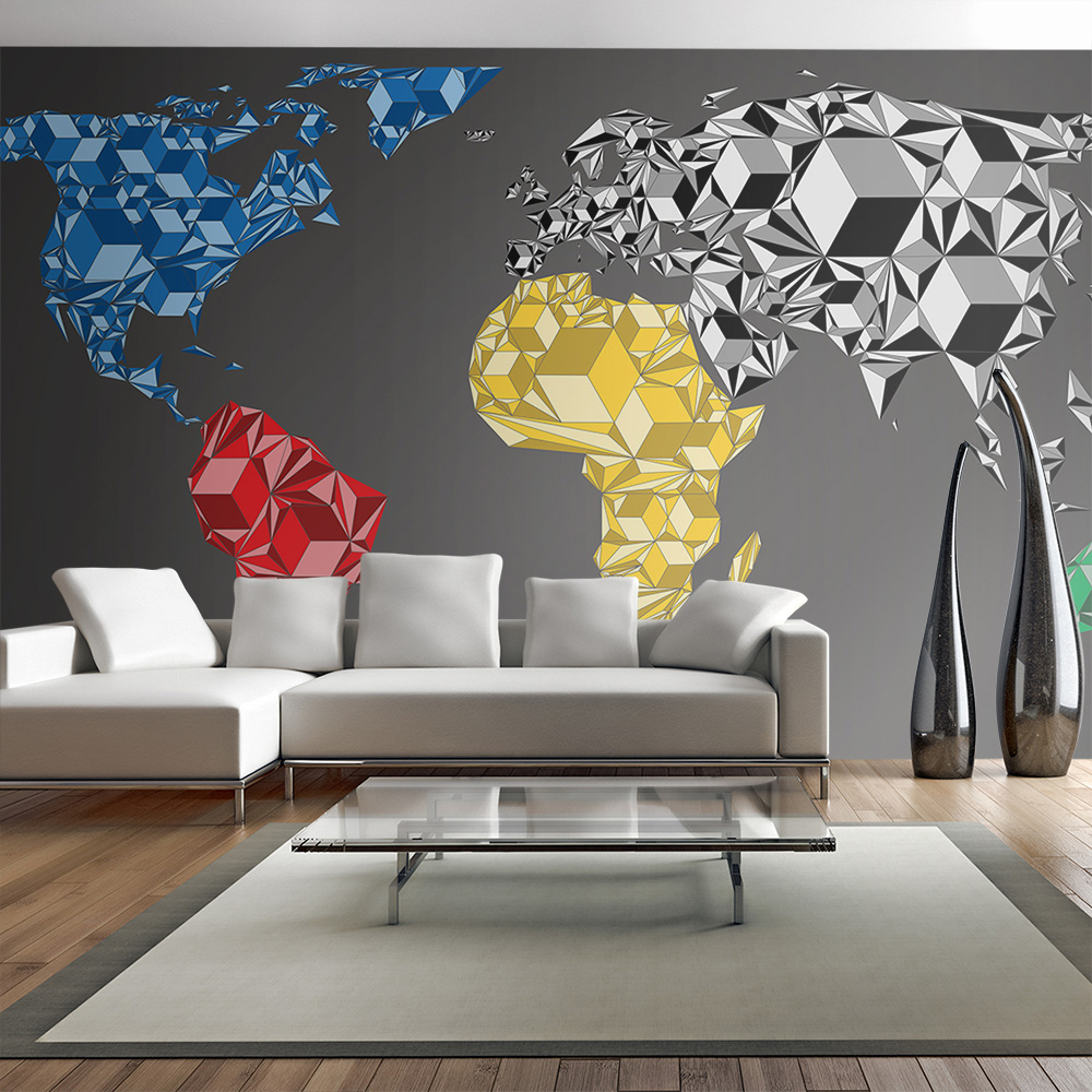 Fototapeta XXL - Map of the World - colorful solids 550x270