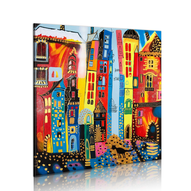 Ručně malovaný obraz - Magic street 80x80
