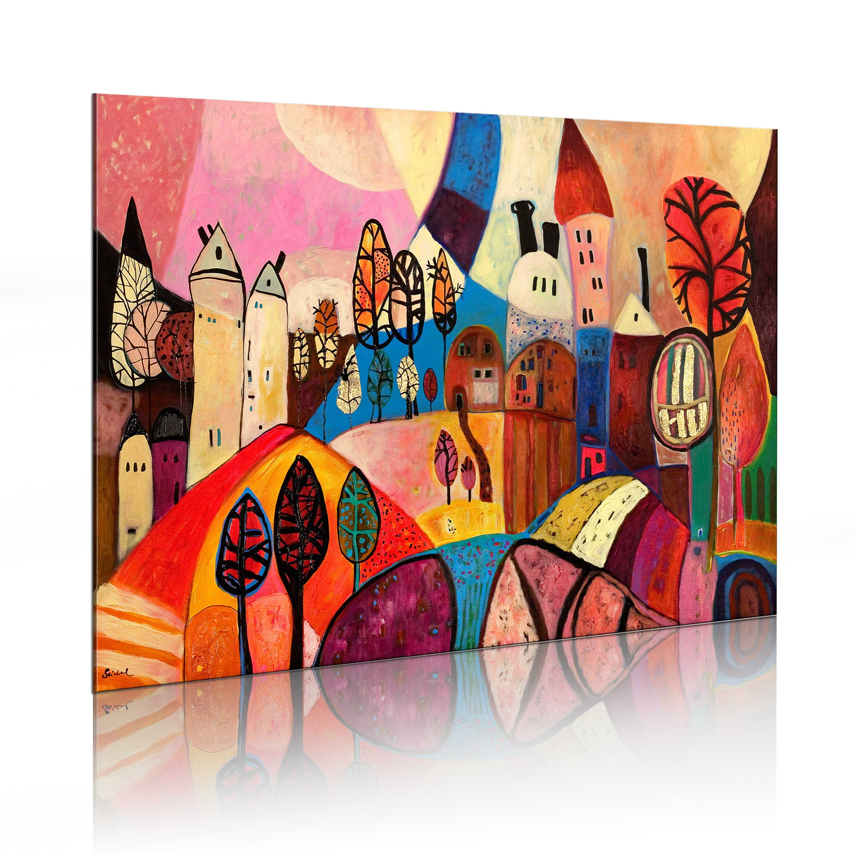 Ručně malovaný obraz - Vesnice v podzimních barvech 90x60
