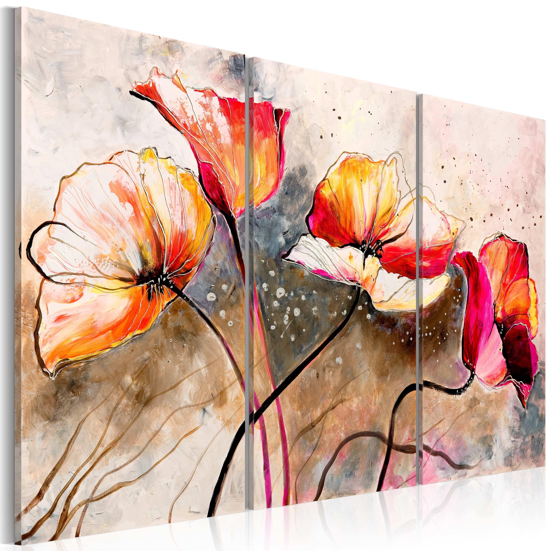 Ručně malovaný obraz - Máky ve větru 120x80