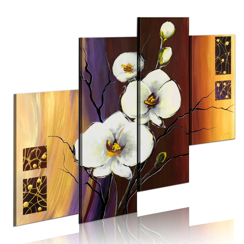 Ručně malovaný obraz - Bílá orchidea 120x100