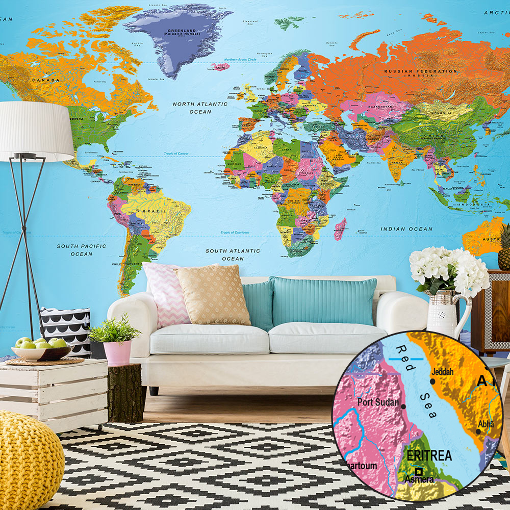 Fototapeta XXL - World Map: Colourful Geography II 500x280