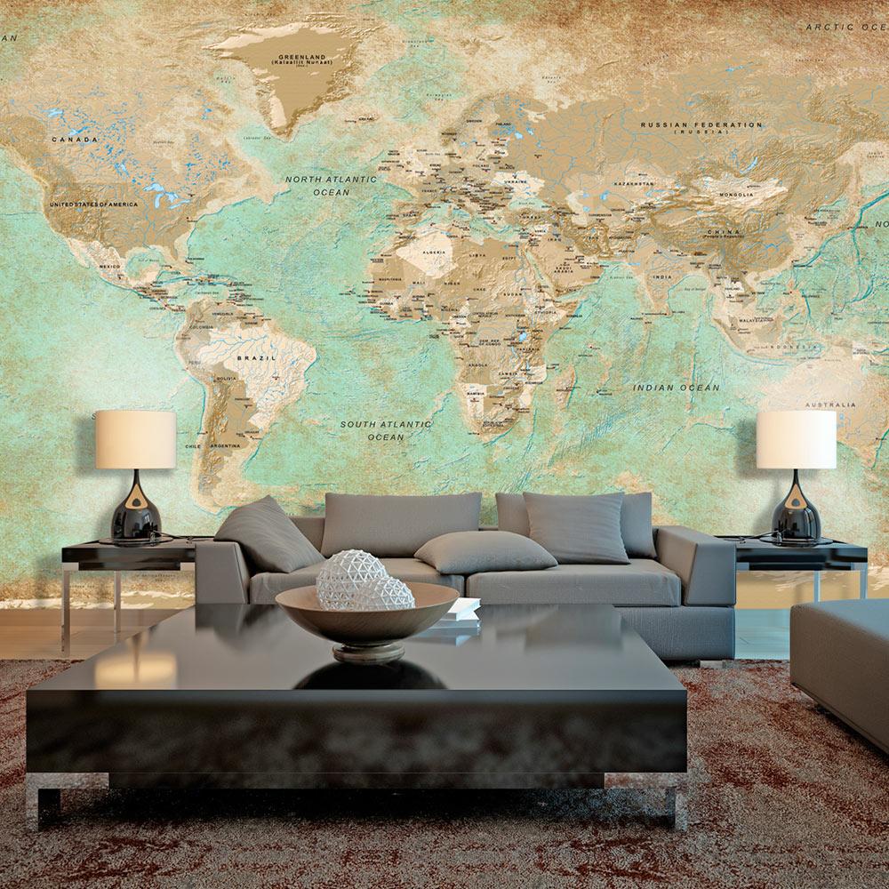 Fototapeta XXL - Turquoise World Map II 500x280