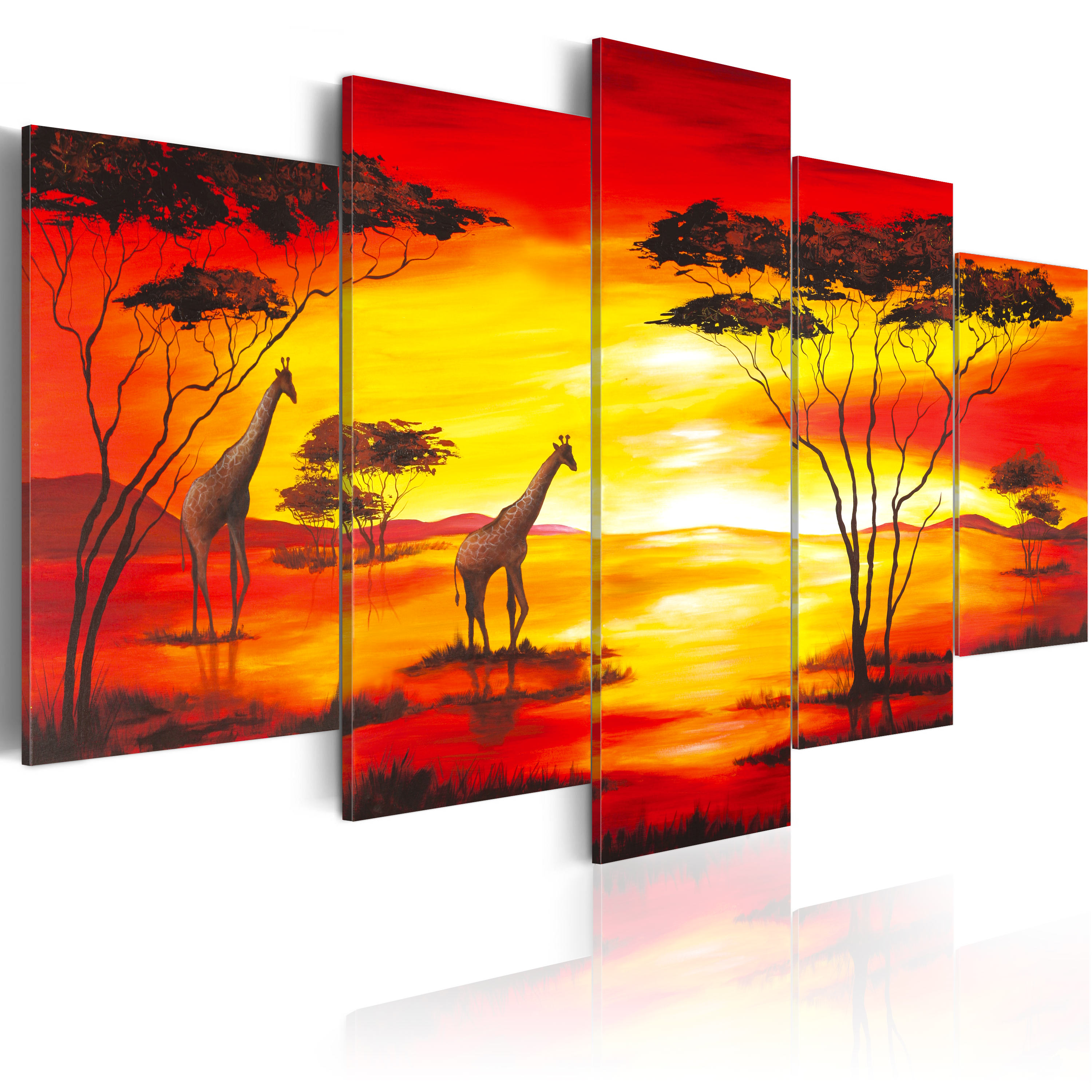 Obraz - Giraffes on the background with sunset 200x100