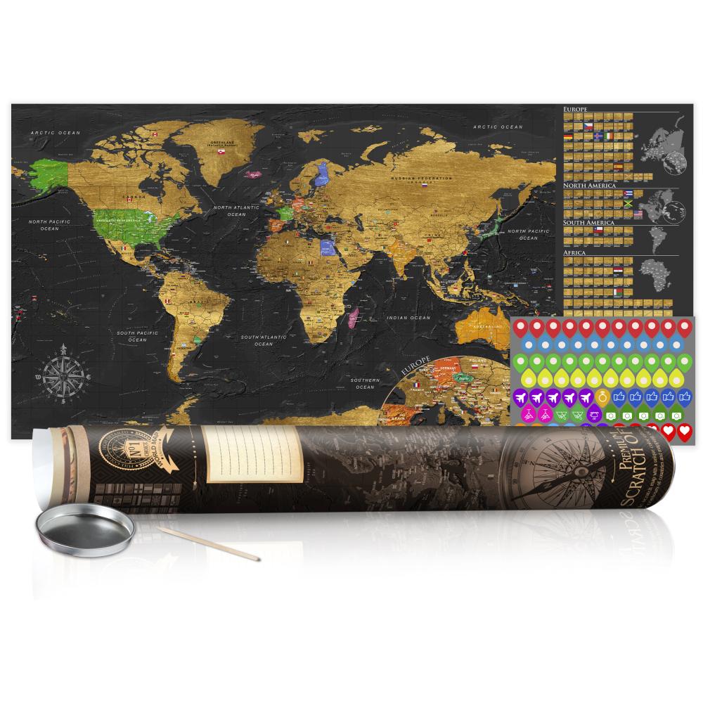 Stírací mapa - Golden Map - Poster (English Edition) 100x50