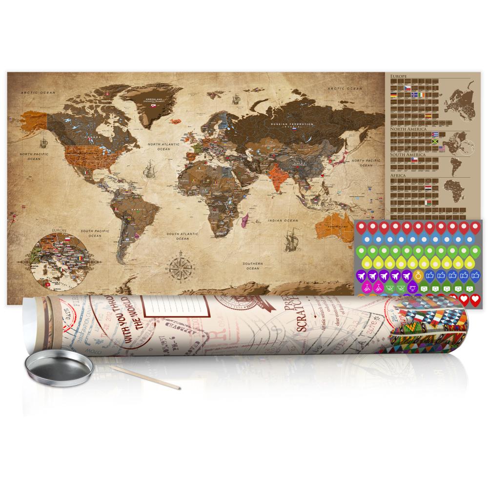 Stírací mapa - Vintage Map - Poster (English Edition) 100x50