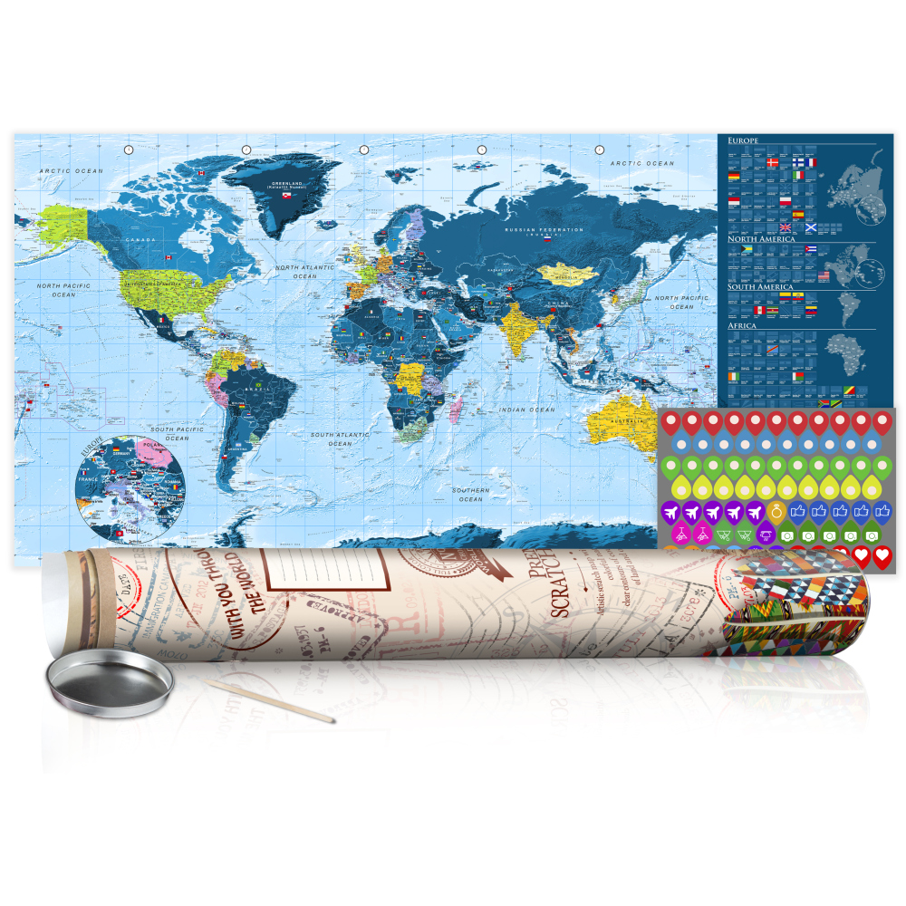 Stírací mapa - Blue Map - Poster (English Edition) 100x50
