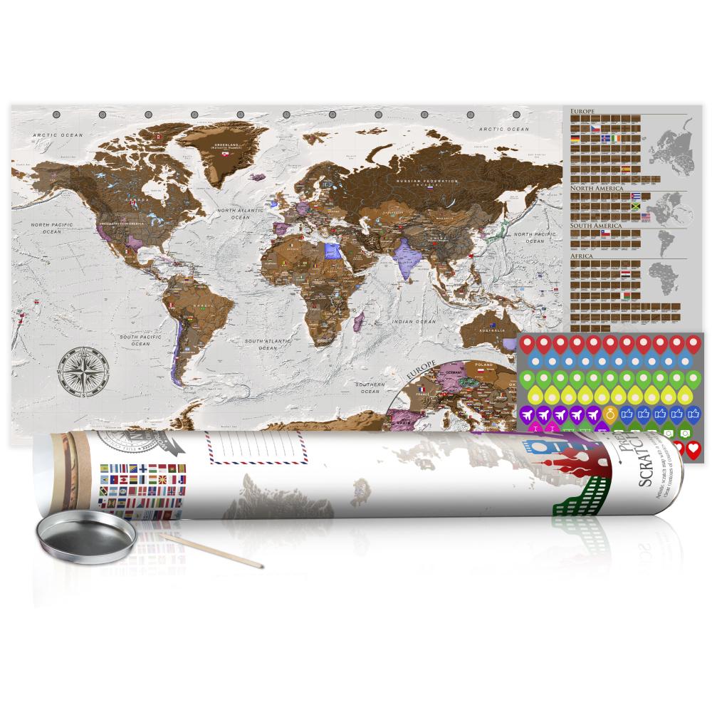 Stírací mapa - Grey Map - Poster (English Edition) 100x50
