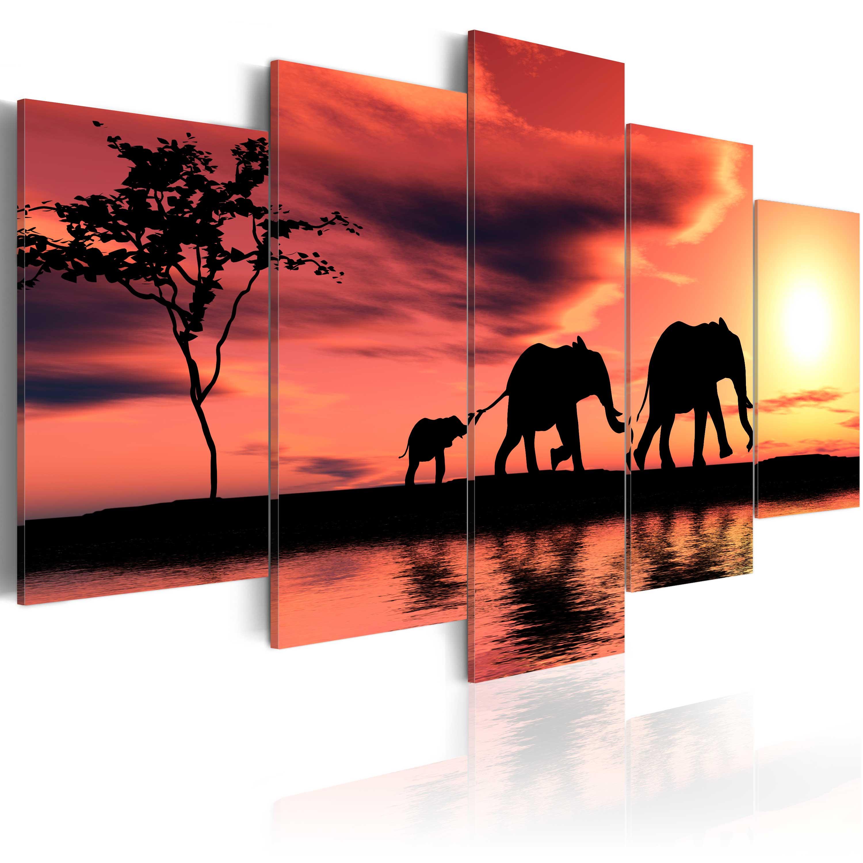 Obraz - Rodina afrických slonů 200x100