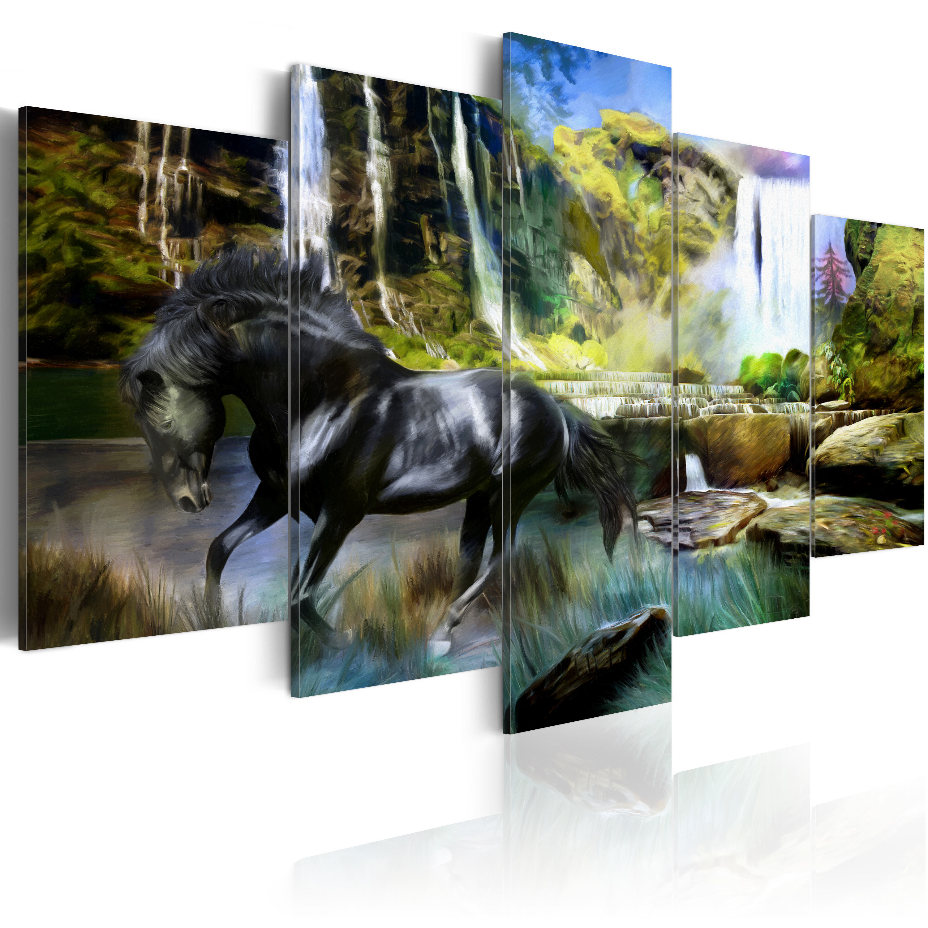Obraz - Black horse on the background of paradise waterfall 200x100