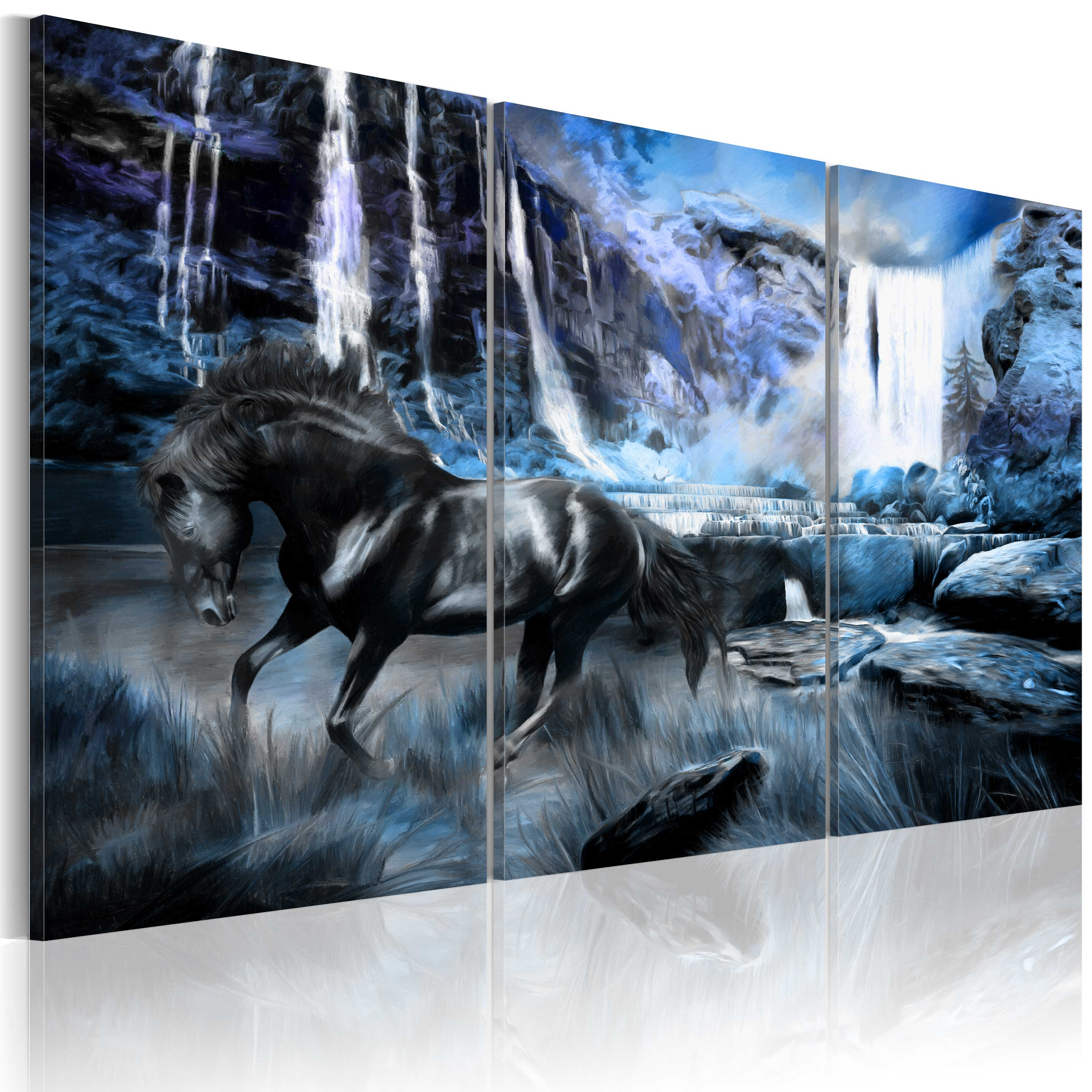Obraz - Waterfall in colour of sapphire 120x80