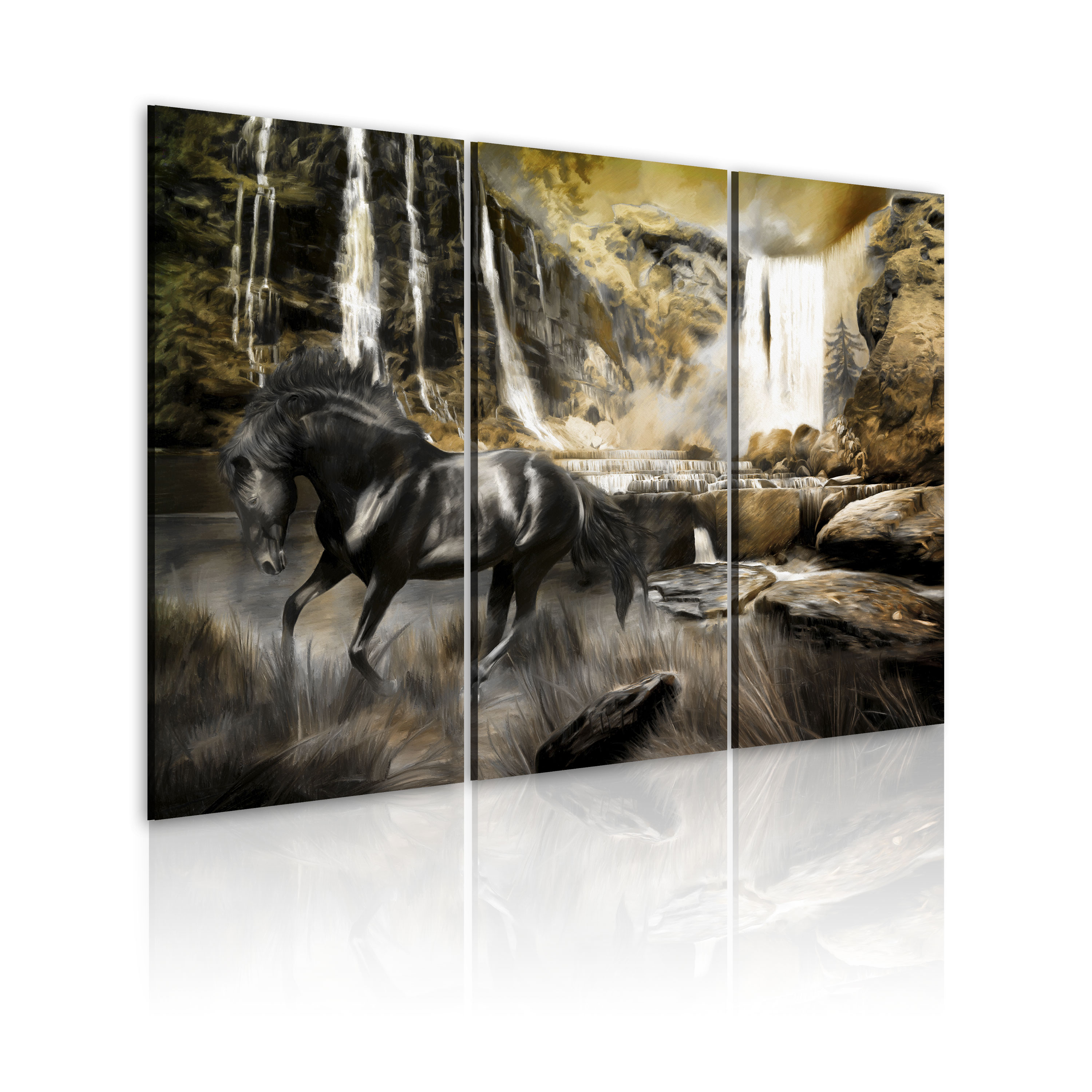 Obraz - Black horse and rocky waterfall 120x80