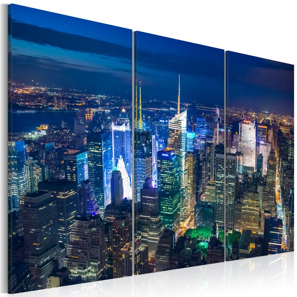 Obraz - Ptačí pohled na noční NY 60x40