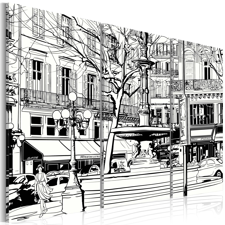 Obraz - Sketch pařížského náměstí 120x80
