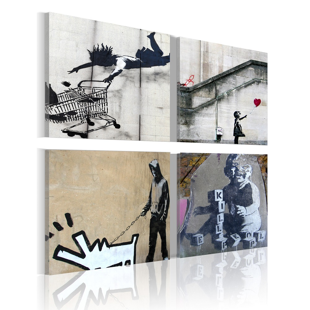 Obraz - Banksy - four orginal ideas 80x80