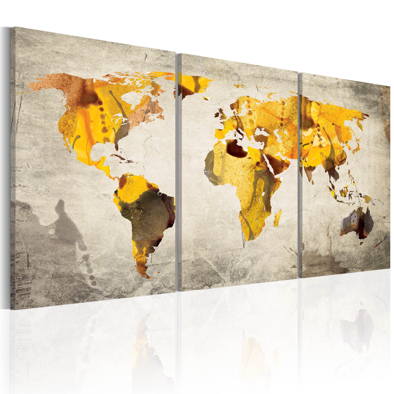 Obraz - Žluté kontinenty 60x30