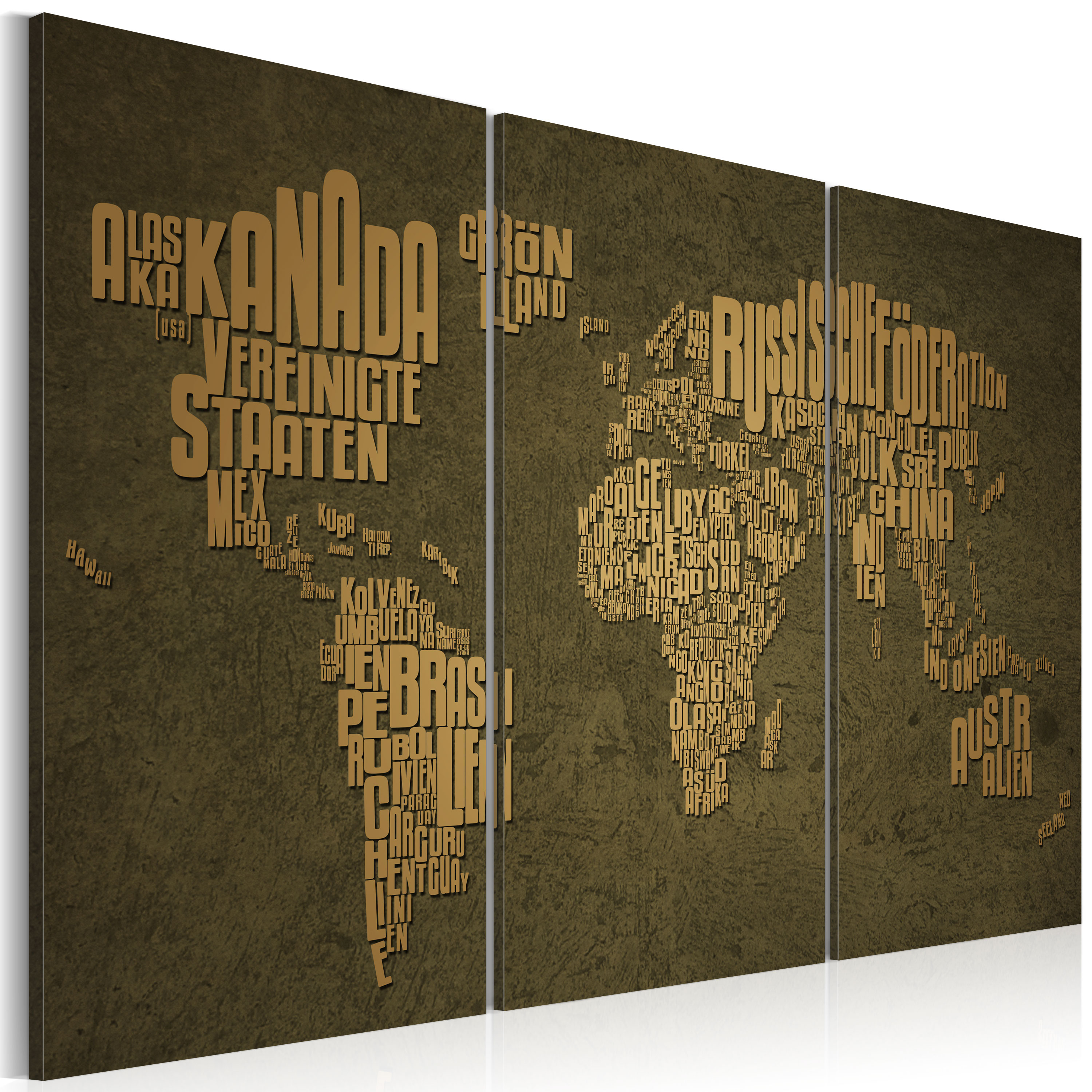 Obraz - The map of the World, German language:Beige continents - triptych 120x80