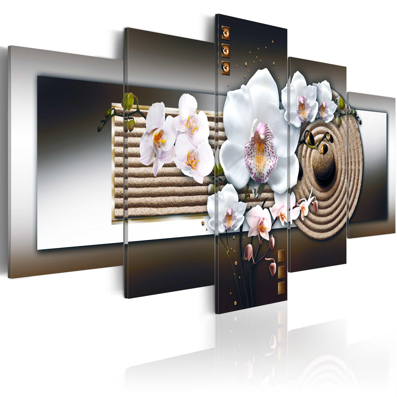 Obraz - Orchid and zen garden - brown 100x50