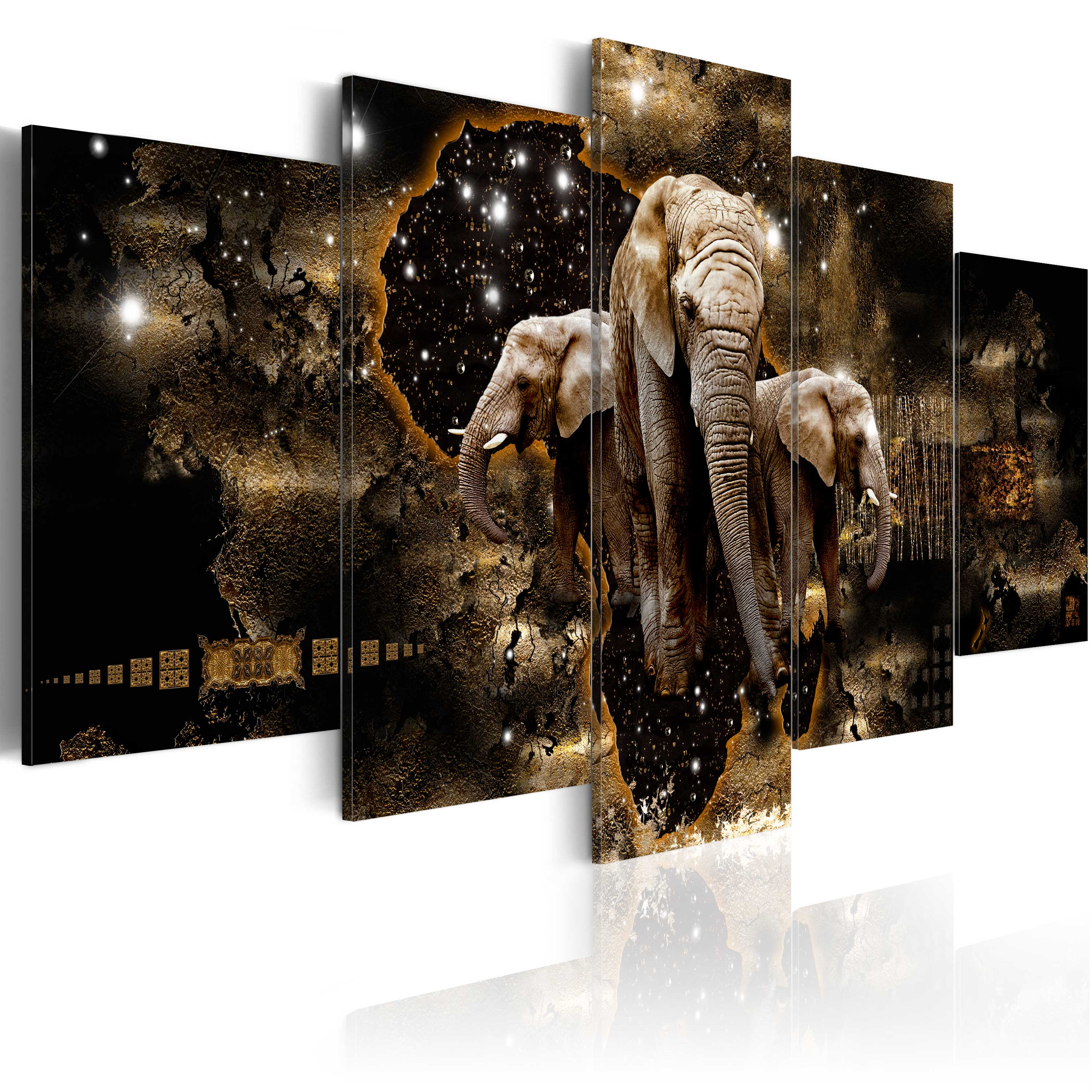 Obraz - Brown Elephants 100x50