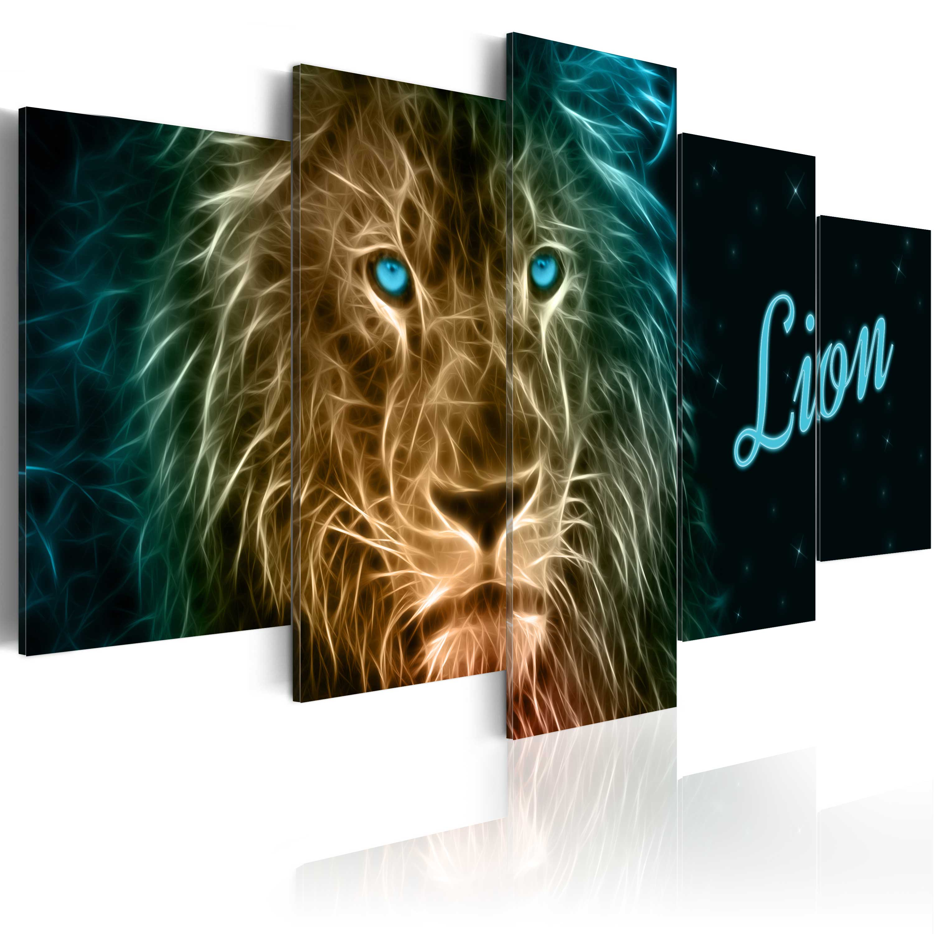 Obraz - Gold lion 200x100