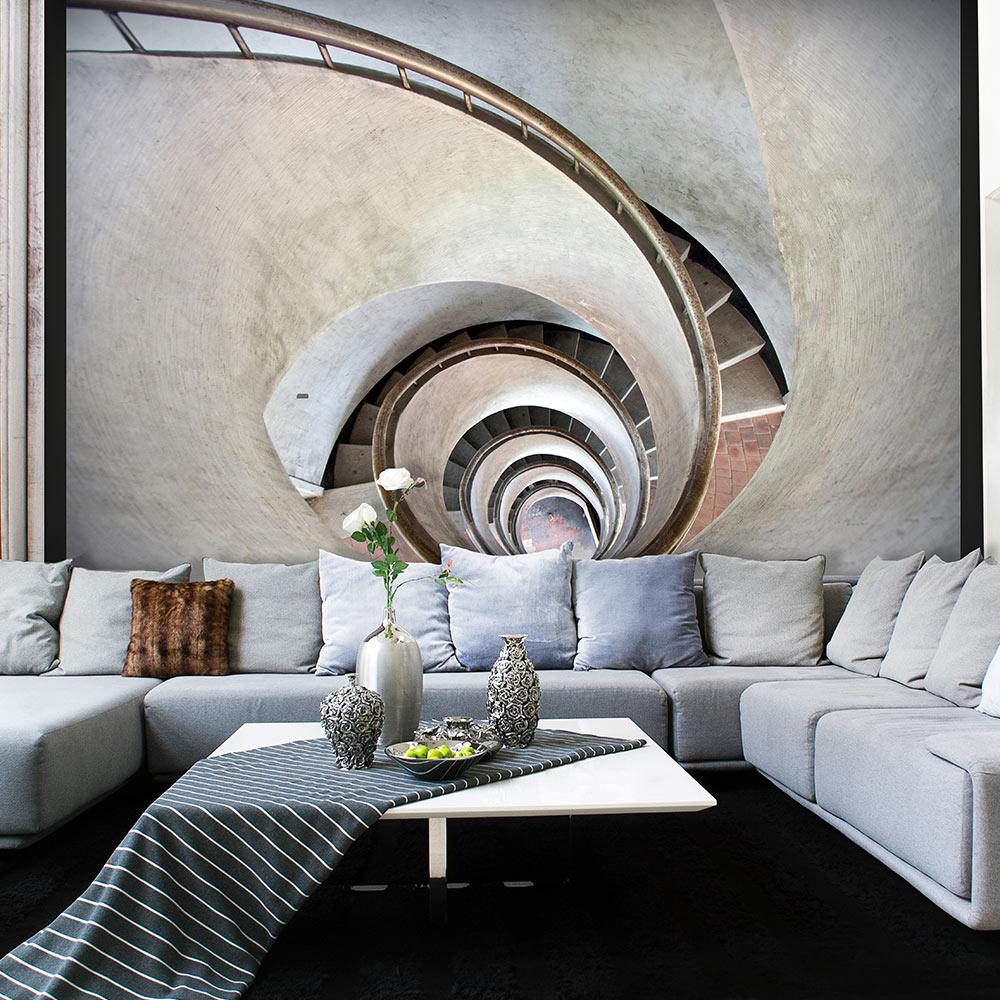 Fototapeta - White spiral stairs 350x270