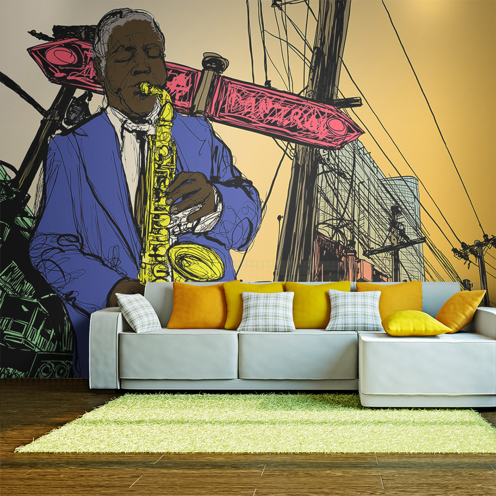 Fototapeta - Saxophonist in New York 350x270