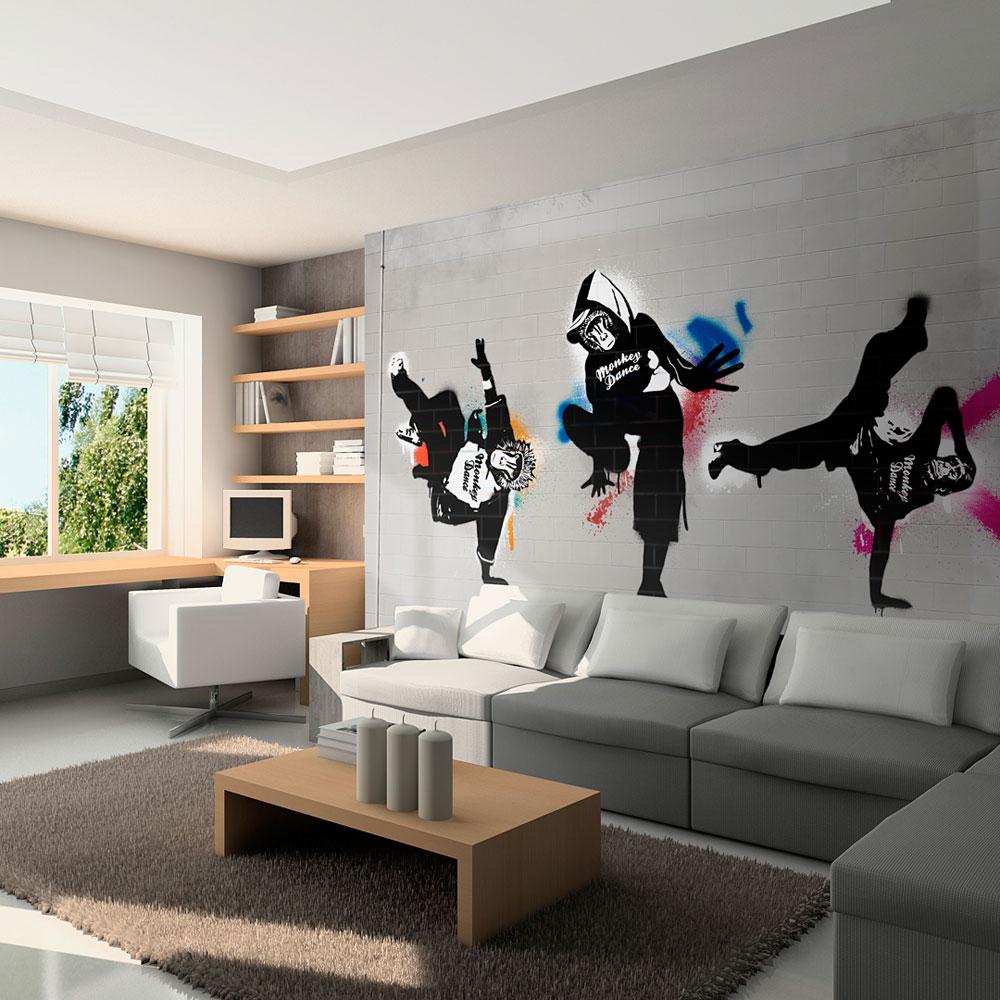 Fototapeta - Monkey dance - street art 400x309