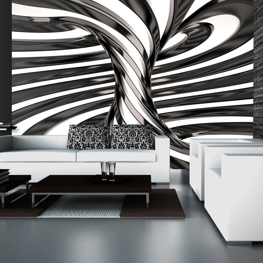 Fototapeta - Black and white swirl 350x245