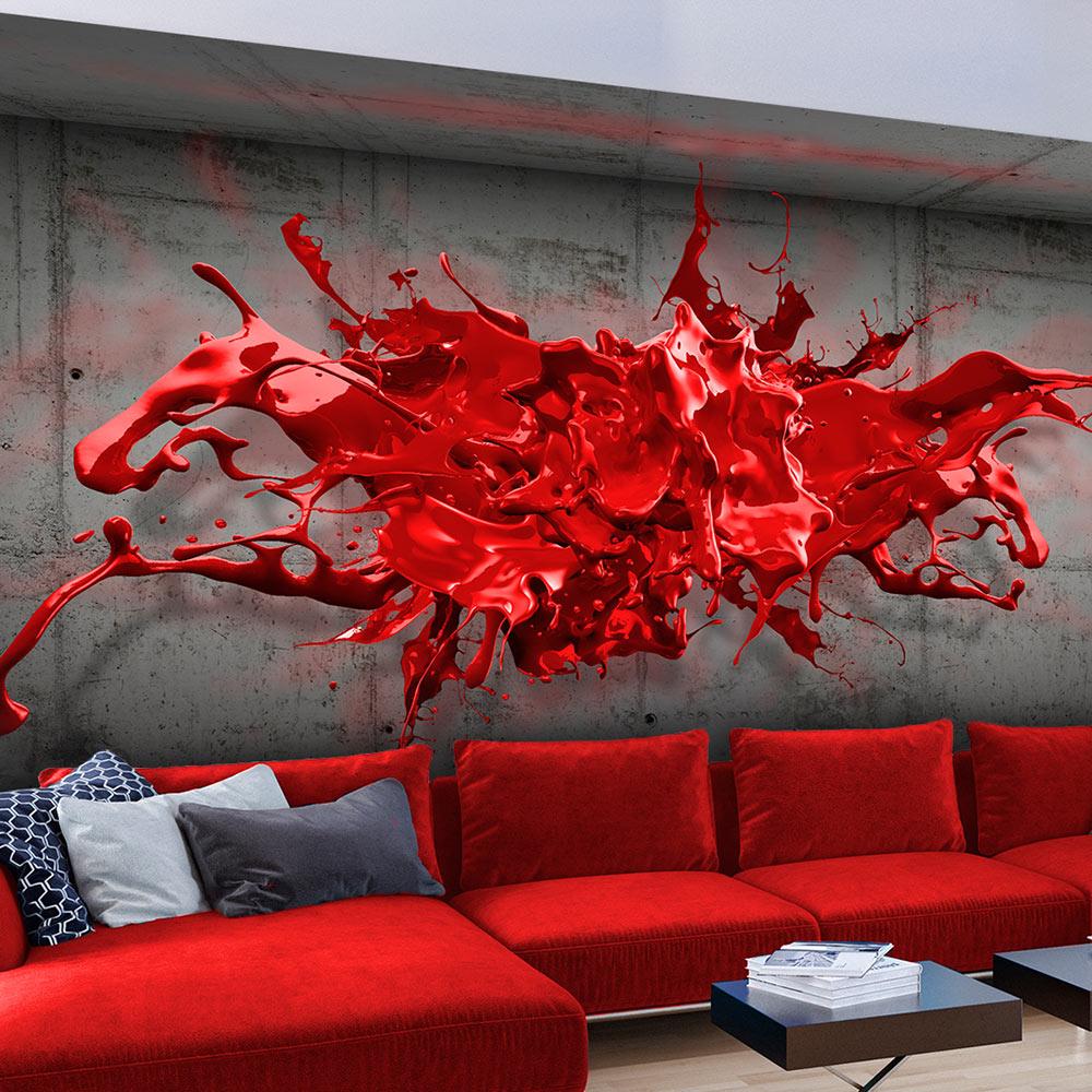 Fototapeta - Red Ink Blot 100x70