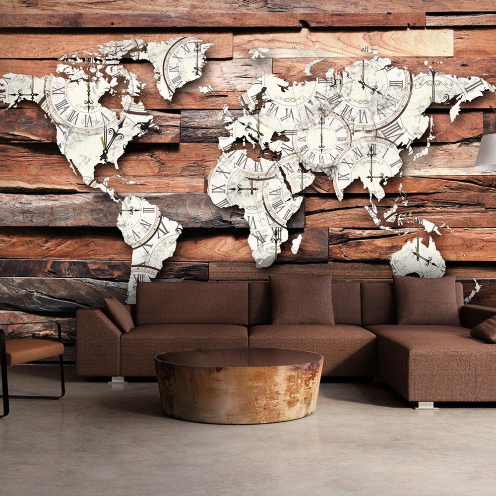 Fototapeta - Map On Wood 250x175