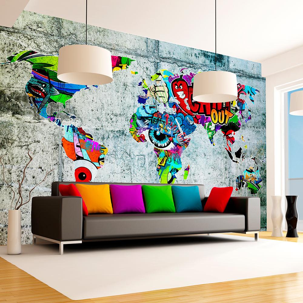 Fototapeta - Map - Graffiti 400x280
