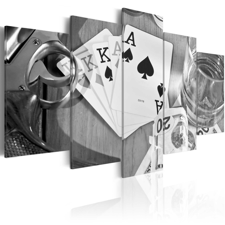 Obraz - Poker night - black and white 100x50