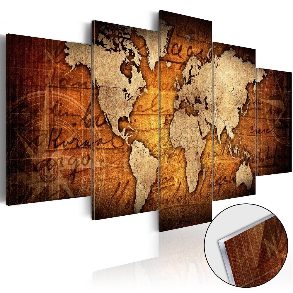 Obraz na akrylátovém skle - Acrylic prints – Bronze map I 100x50