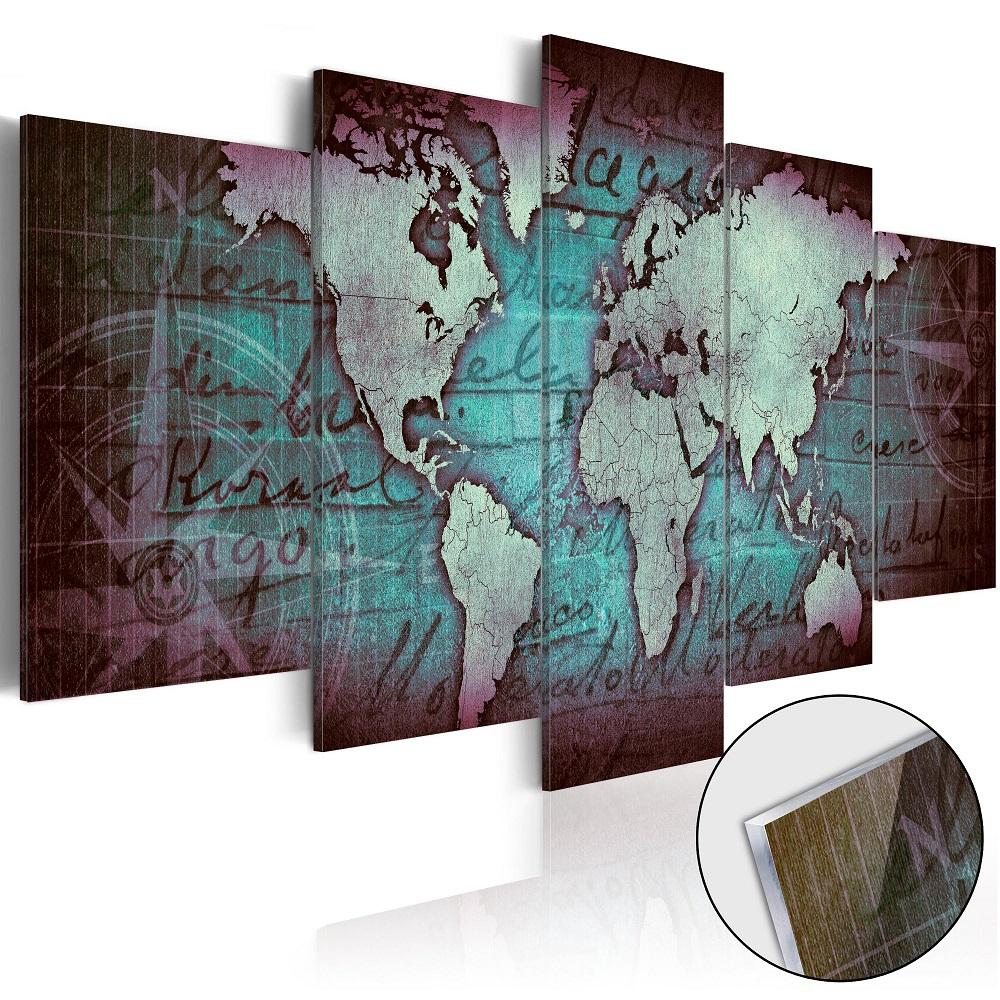 Obraz na akrylátovém skle - Acrylic prints – Bronze map II 100x50