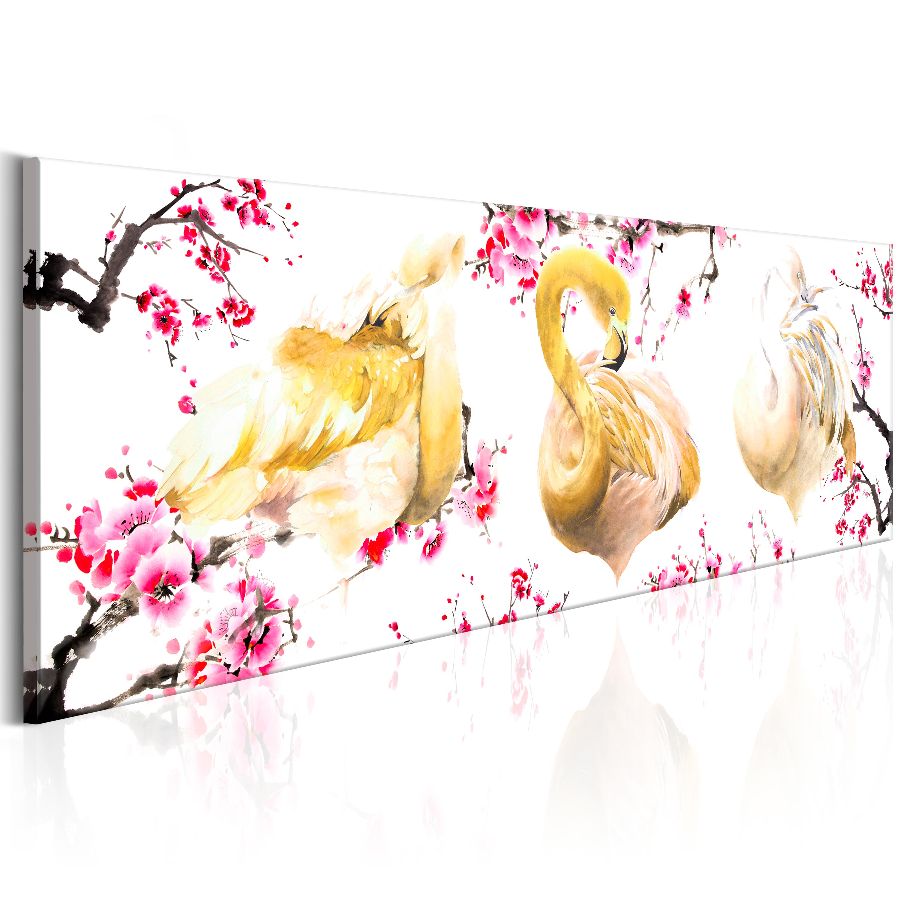 Obraz - Golden Flamingoes 150x50