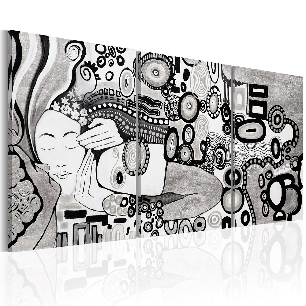 Ručně malovaný obraz - Silver Kiss 60x30