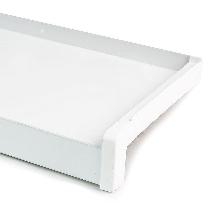 Venkovní hliníkový parapet tažený RAL 9016 bílá  šířka 50mm