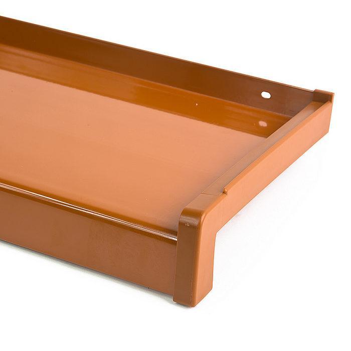 Venkovní hliníkový parapet tažený světle hnědá RAL 8003 šířka 90mm