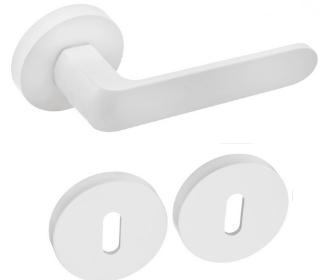 Rozetové kování DumTrade IVETTE R9 matná bílá s rozetou BB obyčejný klíč